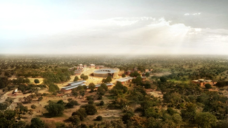 Birds eye rendering of the Opera Village by Kéré Architecture