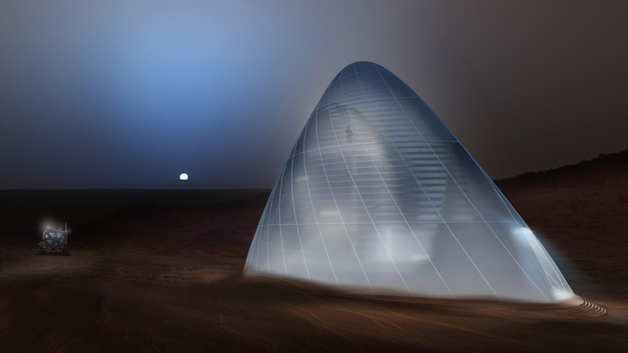 The first prize for the  NASA 3D Printed Habitat Challenge Design Competition went to a house made of ice. Image: Mars Ice House