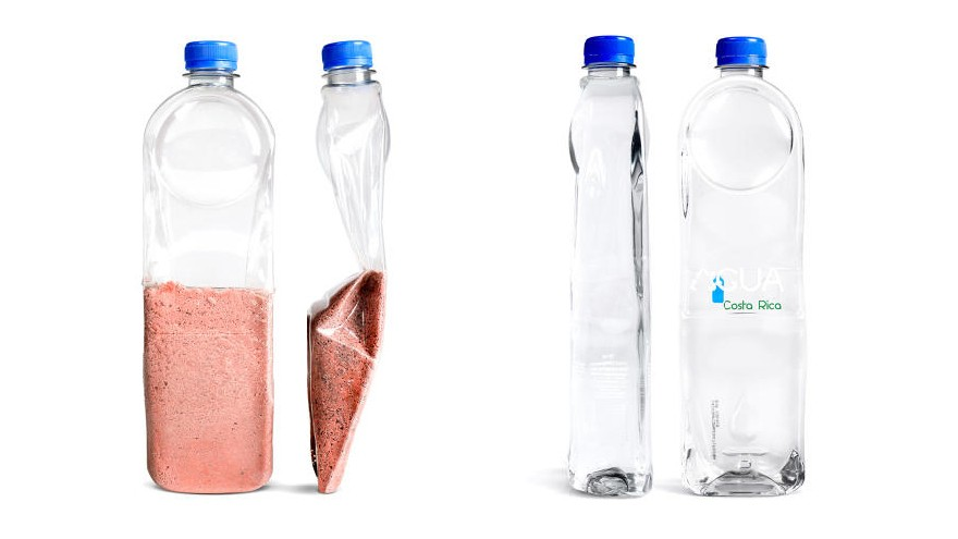 'A'Gua water bottles by Donald Thomson are custom-designed plastic water bottles that turn into roofing tiles when empty. Image: FastCoDesign