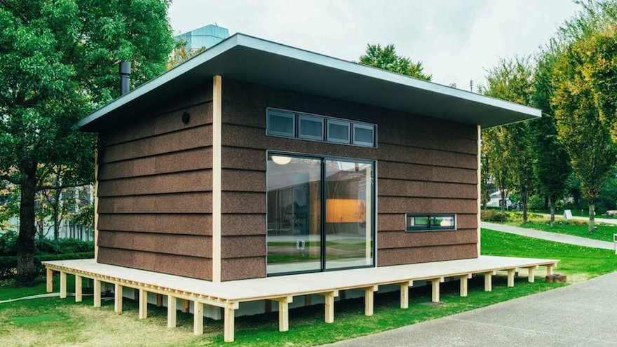 Muji launches three little prefab-houses: Jasper Morrison's micro-home is made of cork. Image: MUJI Huts