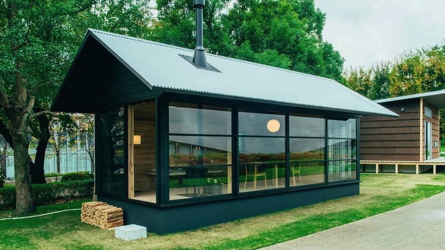 Muji launches three little prefab-houses: Naoto Fukasawa's is made of wood. Image: MUJI Huts