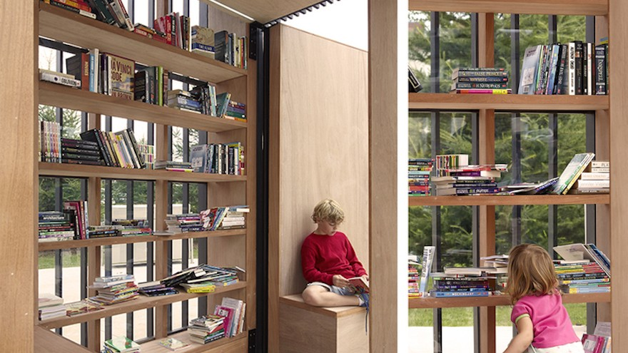 Story nook, book exchange in a beautiful community space.