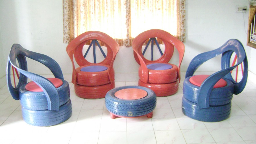 Indoor furniture using tyres and Rexine leather, by Recycle India