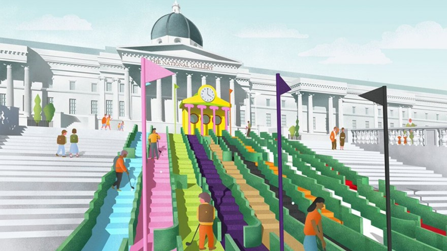 Visionary Crazy Golf leading up to Paul Smith's Club House