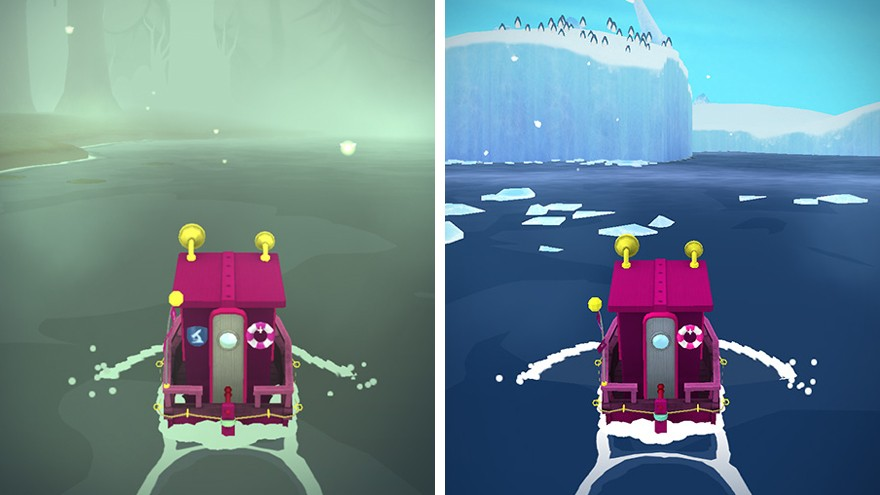 Players navigate through different landscapes, including swamps and icebergs