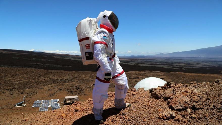 Astronaut on volcano