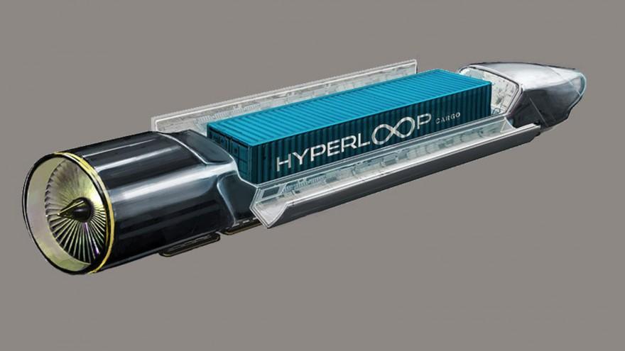 Hyperloop cargo rendering