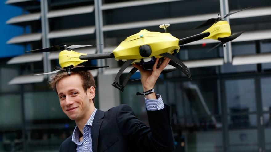Alec Momont holding drone