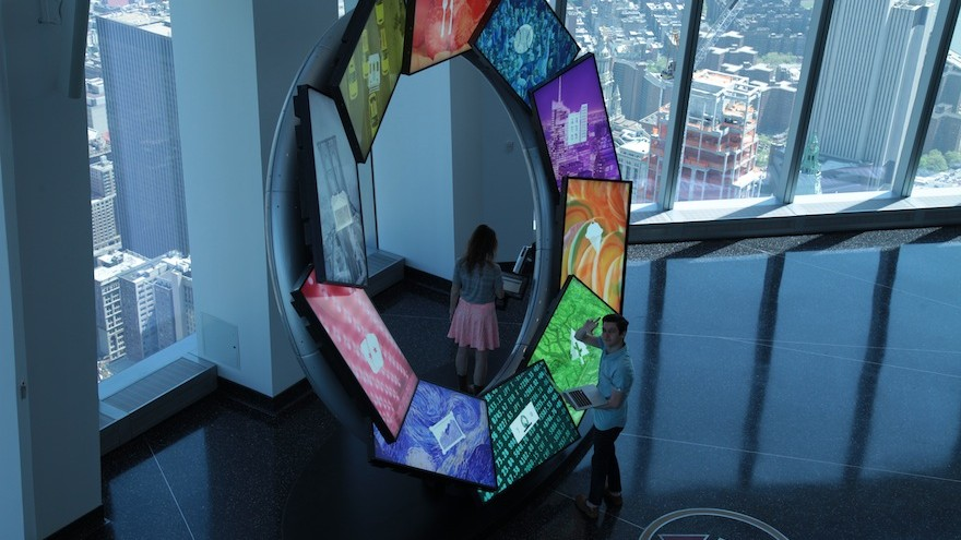 "Jake Barton's design studio Local Projects launches a new interactive story-telling experience ""City Pulse"" at the top of the One World Trade Centre."