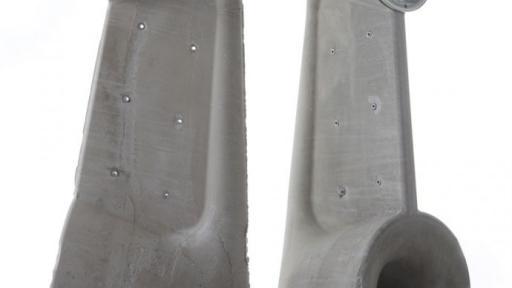 Concrete speakers by Shmuel Linski. Photo: Sasha Flit.