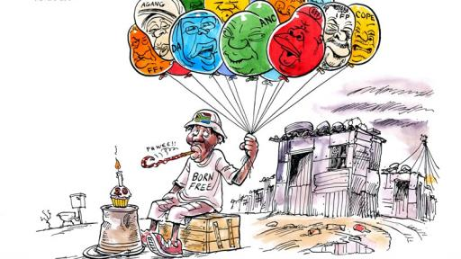 Zapiro cartoon featured in Democrazy: SA's Twenty-Year Trip. Image: Zapiro.