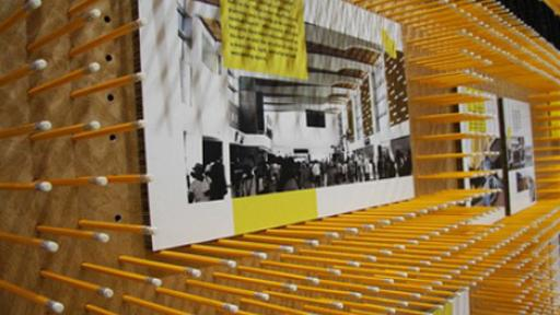 Sharing ideas using 16,800 pencils and 10,000 post-it notes at the Cape Town World Design Capital 2014 booth