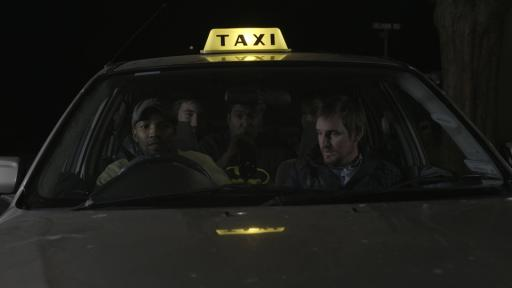 Jerry Mntonga as the driver, Bryan van Niekerk in the passenger seat. Asher Stoltz, Meren Reddy and Tiffany Jones Barbuzano in the back