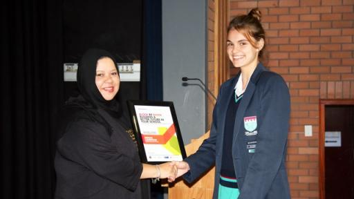 Megan Laughton from Stellenberg High School and Sadia Abrahams, relationship manager Woolworths Making the Difference Programme