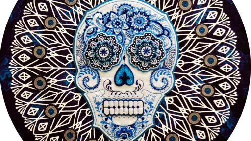 Calavera embroidered skulls.