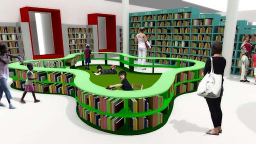 The reading pen in the toddler zone creates a safe space for reading and drawing. Image: Y Tsai Design.