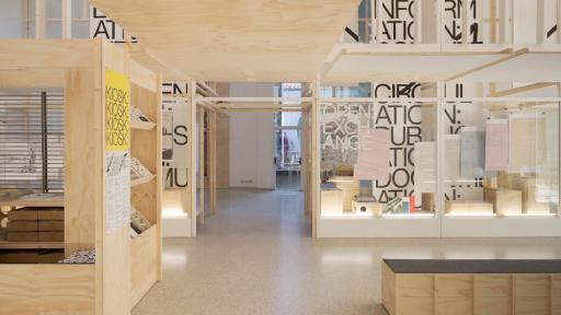Dutch Pavillion at the 14th Venice Architecture Biennale with graphic and exhibition design by Experimental Jetset. Image: Het Nieuwe Instituut.