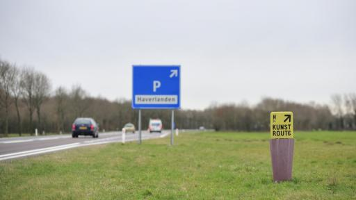 Road marking and links for art projects and resting places along road N34 in the Netherlands by Ineke Hans.