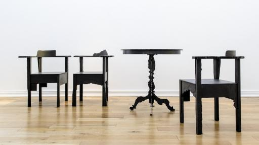 Corner Chairs and Pedestal Table, a collaboration by Gregor Jenkin and William Kentridge, 2012. Courtesy of Southern Guild.