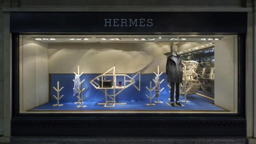 Hermès Geneva window display by ECAL Master's graduate Hongchao Wang of Benwu Studio.