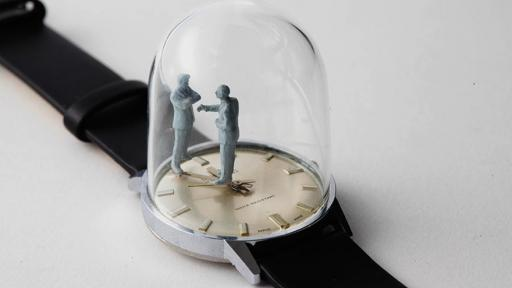 Dominic Wilcox's miniature watch sculpture sees a man disappointed every hour.