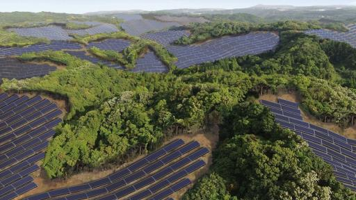 Rendering of th Kanoya Osaki Solar Hills solar power plant in Japan, developed by Kyocera