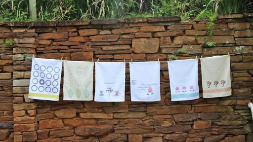 South African artist Sue Sylvester creates hand-painted fabrics inspired by a love of her home