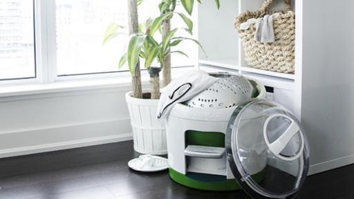 The washing machine powered by peddling.