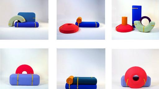 Array, a set of brightly hued foam blocks, by Design Academy Eindhoven graduate Tijs Gilde, can be arranged in multiple ways to create playful seating options.