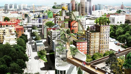 Artist impression of sky city in Stockholm