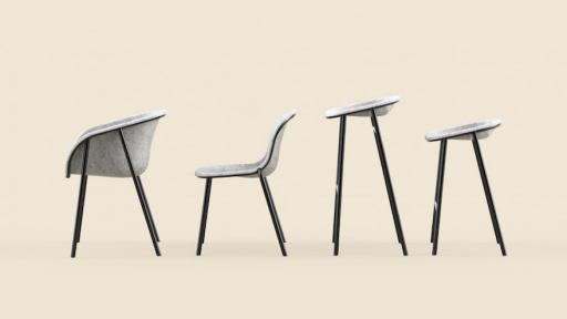The LJ series by De Vorm is a range of chairs and stools are made of a strong and soft felt material that is made of recycled PET bottles