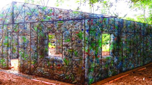 The Village uses plastic bottles in its construction