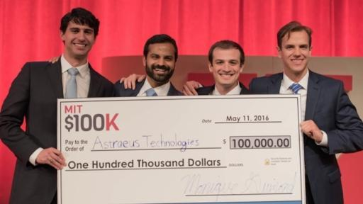 MIT $100K grand-prize-winning team Astraeus Technologies (left to right): Graham Lieberman, Jay Kumar, Alexander Blair, and Joseph Azzarelli. Image Credits: Michael Last/MIT News