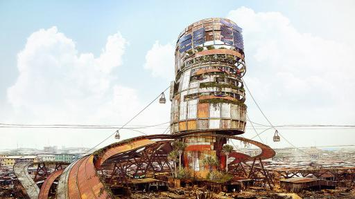 Artist imagines colossal vertical slums in Lagos