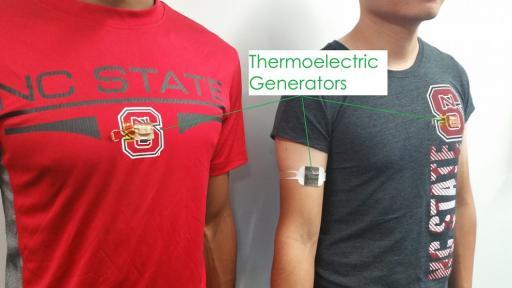 TEG-embedded T-shirt (left) and TEG armband (right).