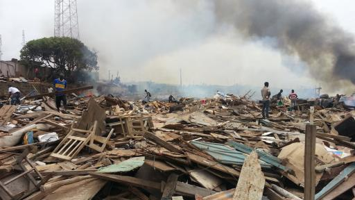 Picture of a slum eviction by PD Ghana