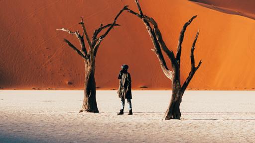 Mutua Matheka in Sossusvlei in the Namib desert