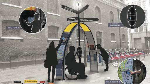 "Information design. A More Inclusive Pedestrian Wayfinding System by Deborah Abidakun builds on the existing ""Legible London"" system to create an enhanced and more user-friendly navigation system"