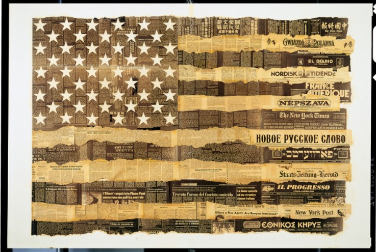 Melting Pot collage of USA flag. Courtesy of Massimo Vignelli.