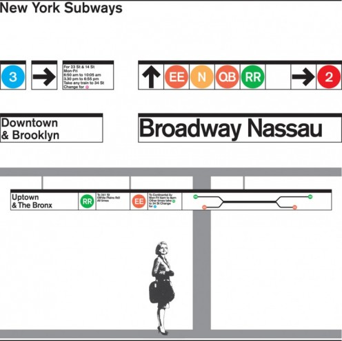 New York Subway signage 1960s. Courtesy of Massimo Vignelli.