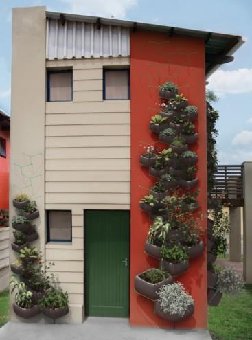 Wallflower Vertical Garden by Haldane Martin attached to a house
