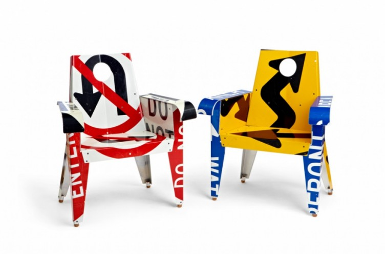"""Two BroadWay Armchairs: """"No U-Turn,"""" """"Arrow Vortex"""". Photo: JW Johnson."""