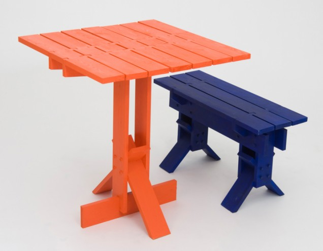 Happiness in Daily Life table and bench by Fabien Cappello. RCA Campsite. © RCA.