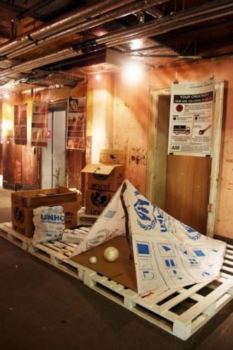 Makeshift shelters using grain sacks by Justin Kim.
