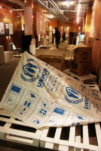 Makeshift shelters from grain sacks.
