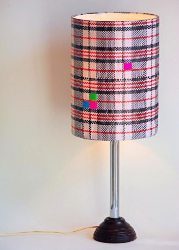 Black Tartan lampshade by Noush. Imag: Noush.