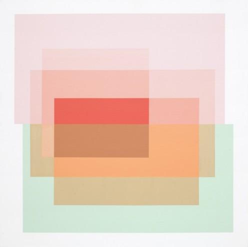 A02 14/10/15; Mixed media & spray paint on canvas; 1515 x 1515mm (framed)