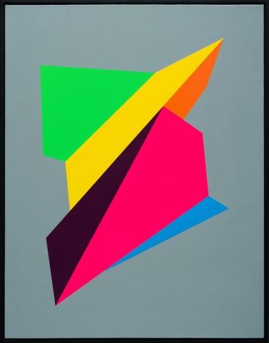 A027 6/6/14; Mixed media & spray paint on canvas 900 x 700mm (framed)