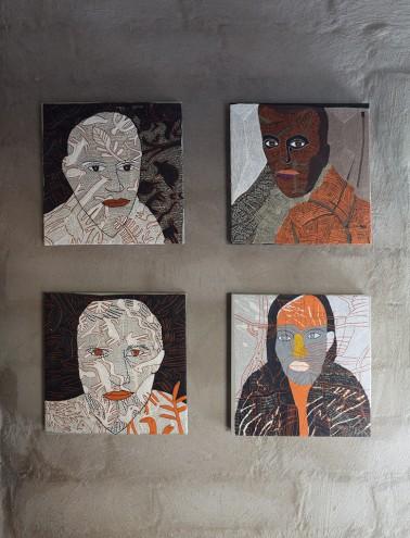 Embroidered portraits by Kaross. Photo: Jac de Villiers. Stylist: Liane Visser.