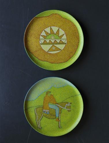 Painted plates by Sibusiso Duma. Photo: Jac de Villiers. Stylist: Liane Visser.